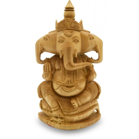 Ganesha with 3 faces - 3 Mukhi Ganesh Statue in Wood - Indian Handicraft in Wood