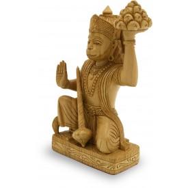 Hanuman Idol carved in wood - Monkey God Statue Indian Handicraft in Wood