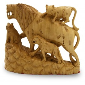 Lion Family Carved in Wood - Animal Figurines in Wooden Indian Handicrafts