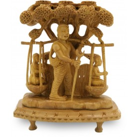 Shravan carrying his parents in basket beautifully hand carved in Wood - Handmade sculpture