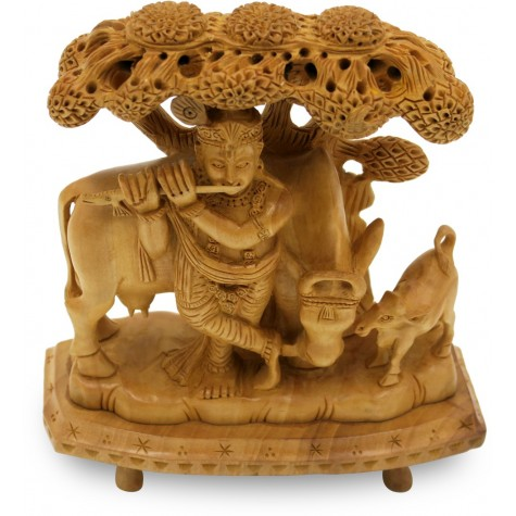 Rajasthani Culture Krishna Figurine Specially Carved in Wood - Handicraft from India