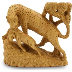 Leopard on Hunt, Specially Carved in Wood - Handicrafts from India
