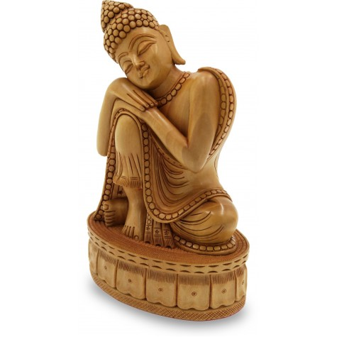 Buddha Sitting with Head on Knee in Meditation Carved in Wood