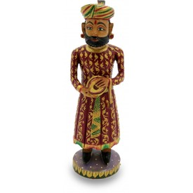 Rajasthani Musical Man Figurine in Wood - India Handicrafts in Wood