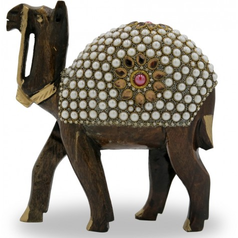 Camel Handmade in Wood with Stone Work - Animal Figurines in Wood