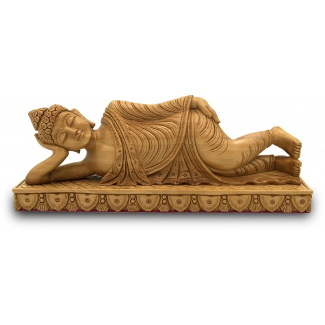Parinirvana Buddha Statue Specially Carved in Wood - Handicrafts from India