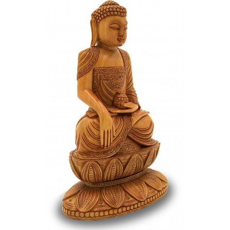 Buddha Sitting in Meditation made in Wood - Buddha Handicraft from India