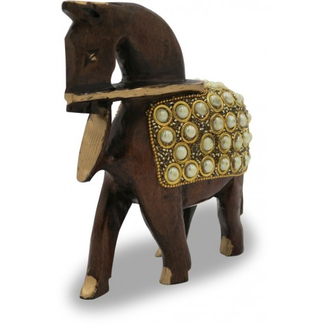 Horse with Stone Work Handmade with Wood - Indian Handicraft Online