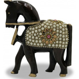 Horse with Small Stone Work handmade with Wood