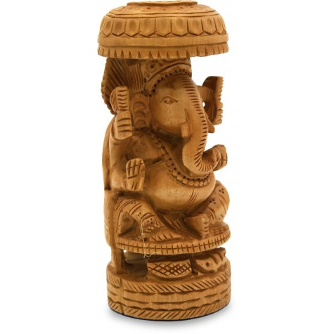 Ganesha with Umbrella Carved in Wood - Handicraft in Wood