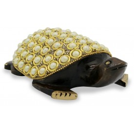 Tortoise with Stone Work in Wood - Handicraft from India