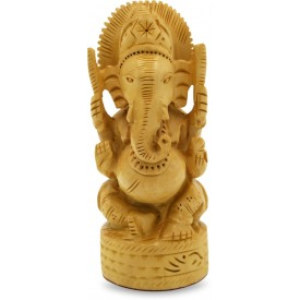 Ganesh Idol Carved in Antique Wood - Wooden Handmade Artifacts from India