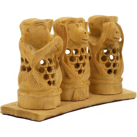 3 Monkeys of Gandhi - Wooden Carving with Jaali Work