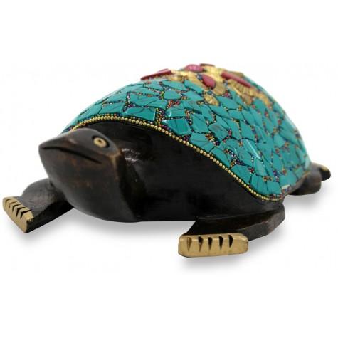 Tortoise with Nepali Work Handmade in Wood - Home Decor Gift