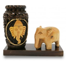 Pen Stand with Ganesha Face & Elephant in Wood