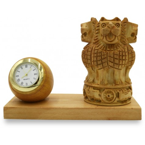 Pen Stand in Ashoka Stambh Shape made in Wood with Watch