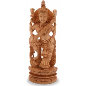 Saraswati Devi Handmade in Wood - Indian Religious Statues
