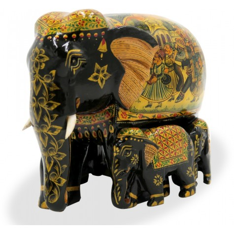 Elephant Family in Wood