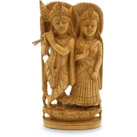 Wooden Radha Krishna Statue - Indian Handicraft Wood Carving of Radhe-Krishna