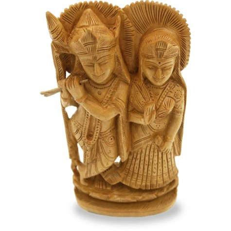 Wooden Radha Krishna Statue - Indian Handicraft Wood Carving of Radhe-Krishna