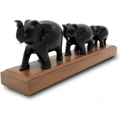 3 Elephants in line made in Wood - Indian Handmade Wooden Elephants Home Decor Gift