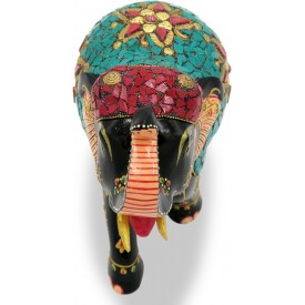 Elephant 6 inches with Upper Trunk in wood having Nepali Painting - Indian Handicraft Gift Elephant