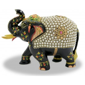 Elephant with Trunk Up in Wood with Stone Work - Indian Handicraft
