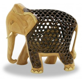 Elephant with Jaali Work in Wood