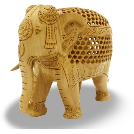 Elephant in Wood with Design work having another Elephant inside
