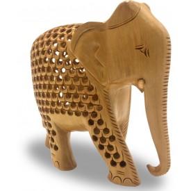 Wooden Hand Carved Elephant with Design Handmade - Handicraft Elephant inside Elephant Statue