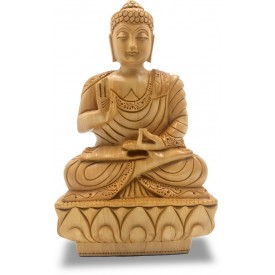 Lord Buddha Sitting in Meditation Carved in Wood