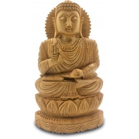 Buddha Meditating Handmade in Wood - Indian Handicraft Buddha Statue
