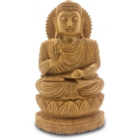 Buddha Meditating Handmade in Wood - Indian Handicraft Buddha Statue