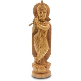 Krishna Wooden Statue Playing Flute - Handicraft of Krishna in wood Home Decor Gift Handmade from India