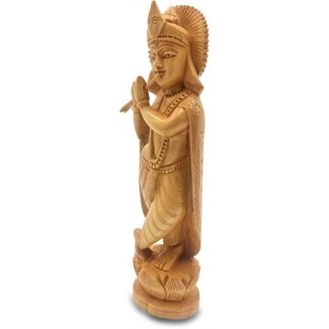 Krishna Wooden Statue Playing Flute - Handicraft of Krishna in wood Home Decor Gift Handmade from India
