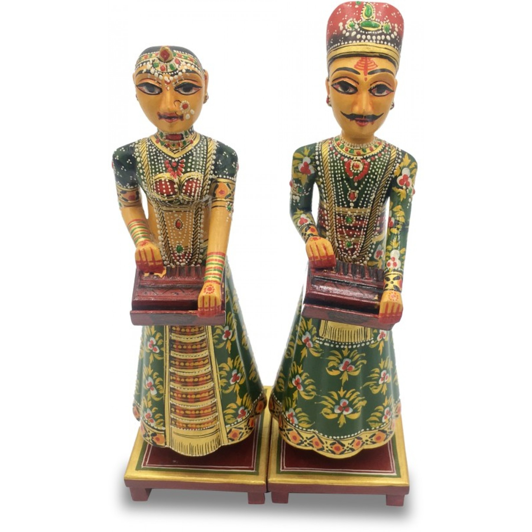 Pair Of Rajasthani Musicians Handmade In Wood Home Decor Wooden