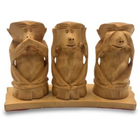 3 Monkeys of Gandhi - Wooden Indian Handicraft of Gandhijis 3 Bandhar