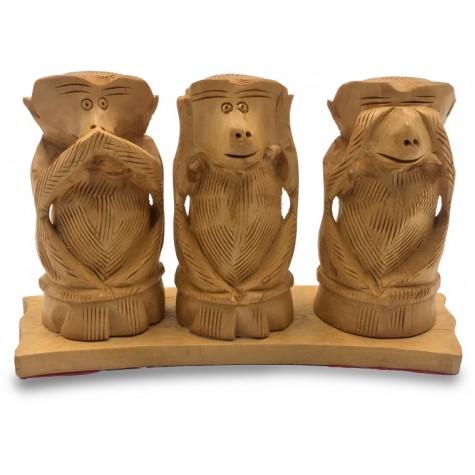 3 Monkeys of Gandhi - Wooden Indian Handicraft of Gandhijis 3 Bandhar