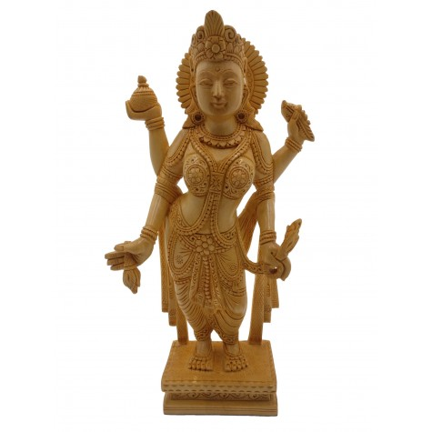 Lakshmi Statue in wood - Goddess Laxmi carving in wooden, 8 inches tall figurine | sculpture for home decor