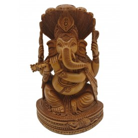 Ganesh Statue in wood beautifully hand carved with multi hooded serpent, Sheshnag and Ganesh playing flute - Ganpati Idol gifts and decor