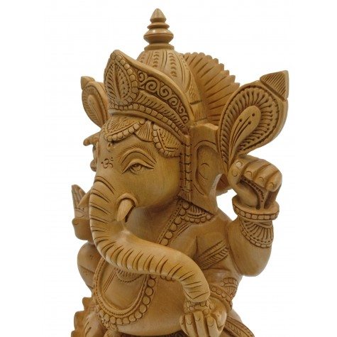 Majestic Ganesh statue in wood 10 inches - Ganesha idol and Ganpati figurines hand carved in kadam wood - wooden handicrafts from India