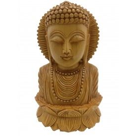 Buddha bust beautifully hand carved in wood 8.5 inches - Buddah statue, Zen decor, Gautam Buddha handmade figurine