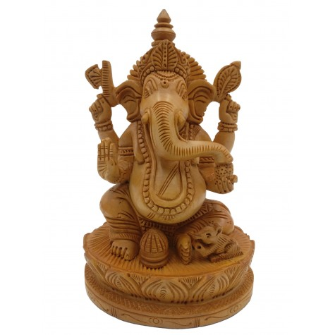 Majestic Ganesh statue in wood 7.5 inches - Ganesha idol and Ganpati figurines hand carved in kadam wood - wooden handicrafts from India