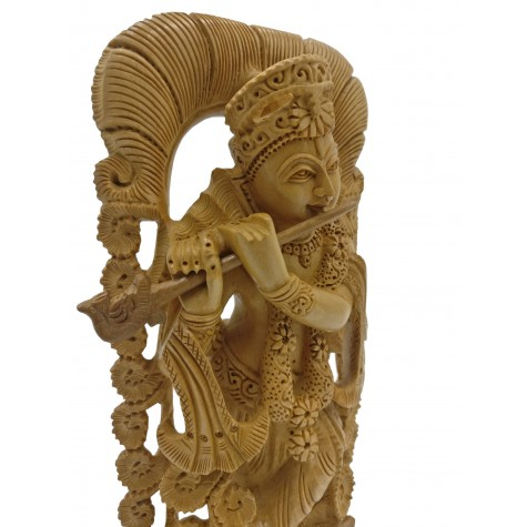 Krishna statue hand carved in wood 8 inches - Wooden Krishna carving playing flute | Handmade Idols and figurines