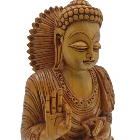 Buddha statue sitting in meditation in wood 7.5 inches - unique Buddha idols and figurine hand carved in wood - Zen decor, Buddah idols
