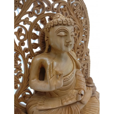 Buddha statue sitting in meditation on a pedestal with an arch carved in wood 9 inches - Buddha idols and figurine hand carved in wood