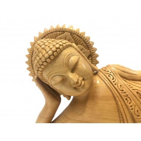 Buddha Statue Parinirvana specially carved in wood 10 inches - Buddha idols and figurine hand carved in wood - Indian handicrafts