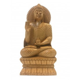 Buddha statue sitting in meditation with a smile in wood 10 inches - Buddha idols and figurine hand carved in wood - Zen decor, Buddah idols