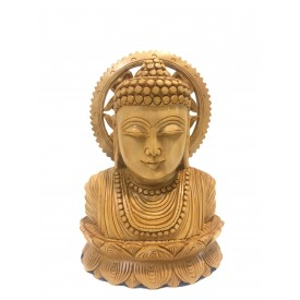 Buddha bust beautifully hand carved in wood 7 inches - Buddah statue, Zen decor, Gautam Buddha handmade figurine