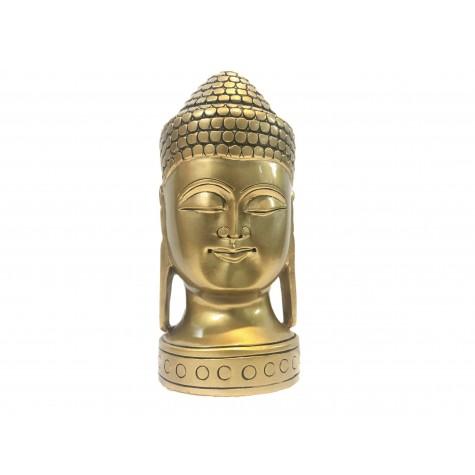 Buddha face beautifully hand carved in wood with metallic finish 6 inches - Buddah statue, Zen decor, Gautam Buddha handmade figurine